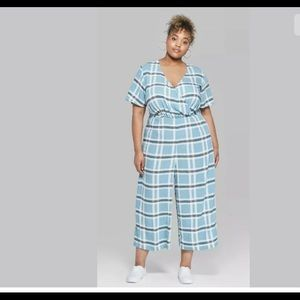 Blue Plaid Short Sleeve Twist Front Capri Jumpsuit